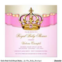 Girls Pink Gold Royal Baby Shower Card   Royal baby ...