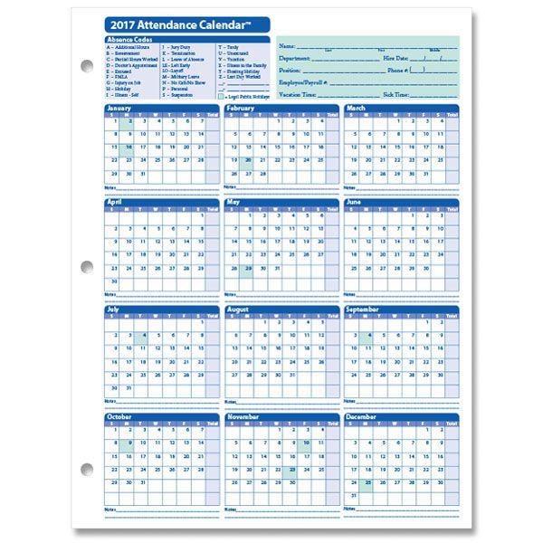 Employee Attendance Calendar, 2017 Attendance Calendar, Attendance - attendance calendar template