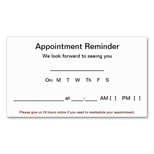 Appointment Reminder Cards (100 pack-White) Business Card - sample appointment card template