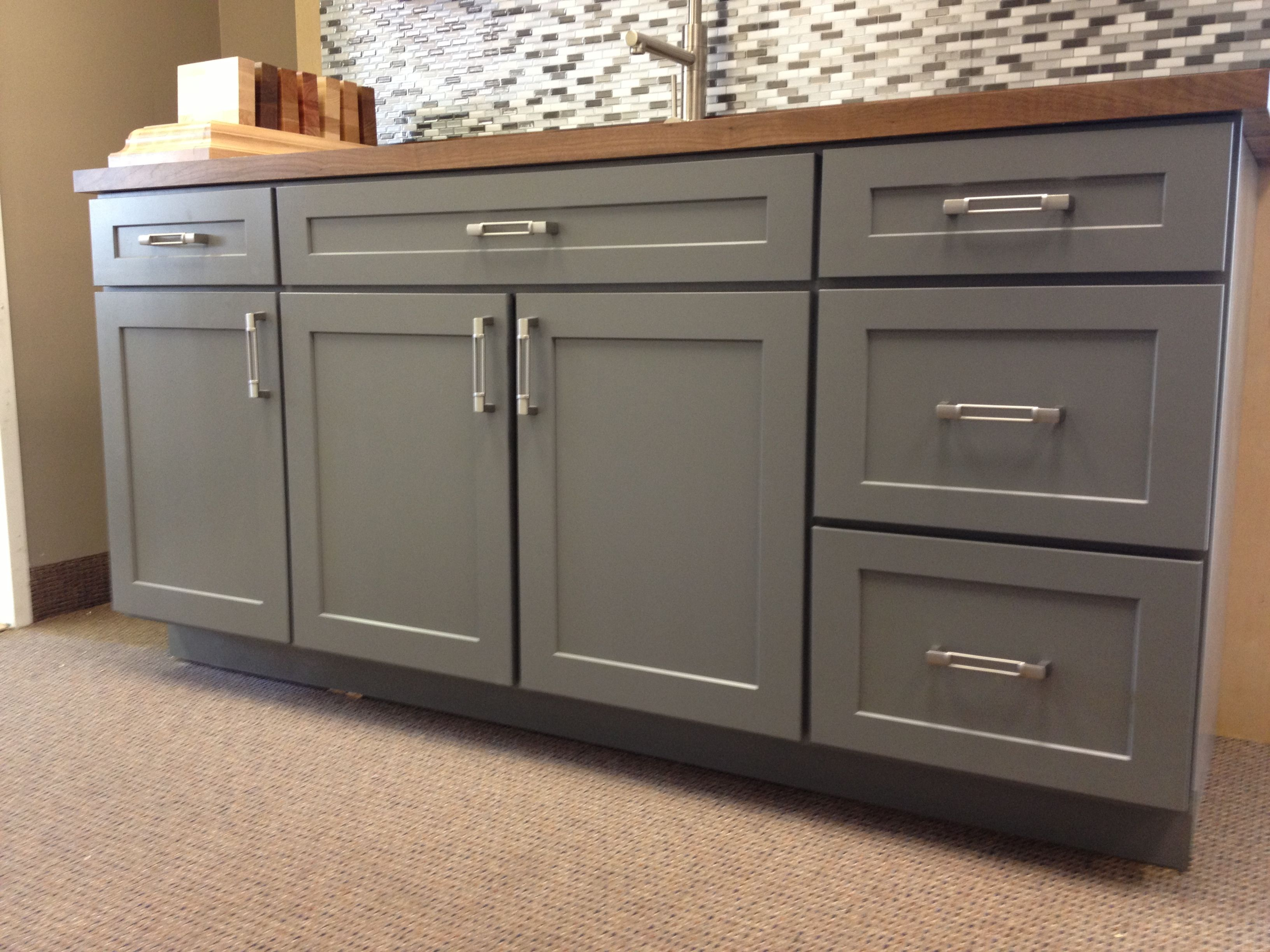 cabinets cabinet accessories kitchen cabinet door styles Armstrong Cabinets Trevant 5 Piece door style in the Slate painted finish topped with a Black