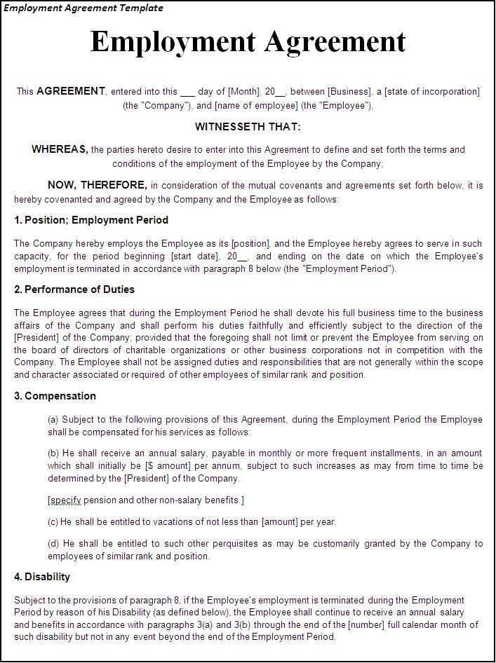 Printable Sample Employment Contract Sample Form Laywers - job agreement contract