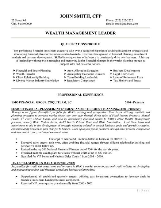 Click Here to Download this Wealth Management Leader Resume - management and program analyst resume
