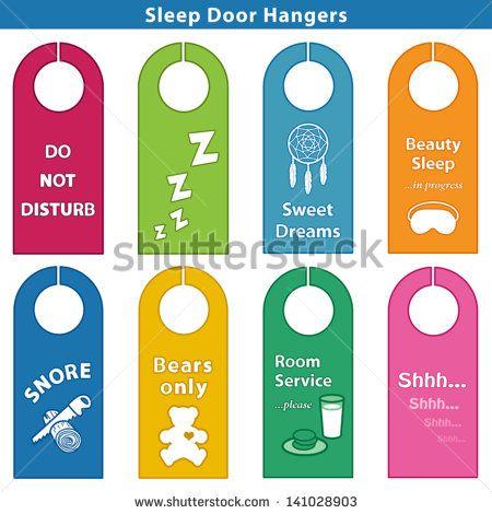 Bedroom Door Hanger Sleep Signs bright colors Do Not Disturb - retail and consumer door hanger template