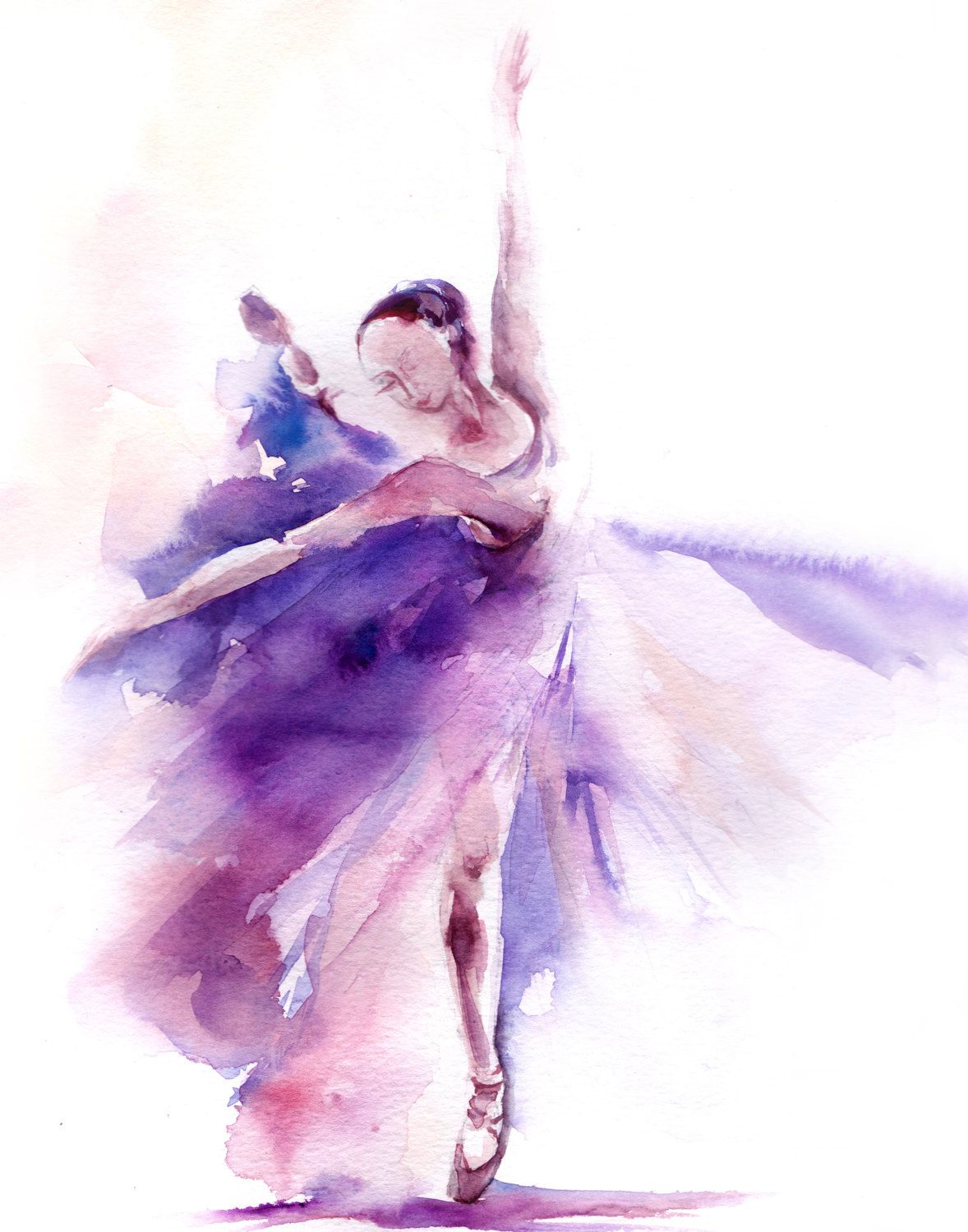 Abstract Painting Of Girl Dancing Watercolor Landcolor Skycolor Ballerina Watercolor
