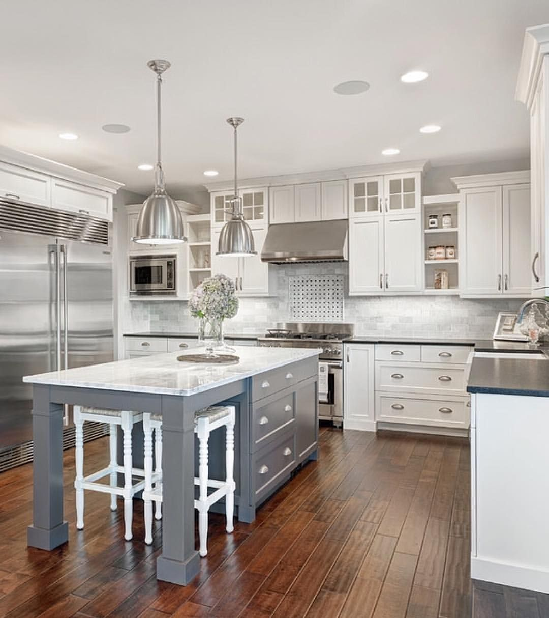 White Marble Kitchen Floors White And Marble Kitchen With Grey Island House And Home