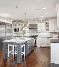 White & marble kitchen with grey island | House & Home ...