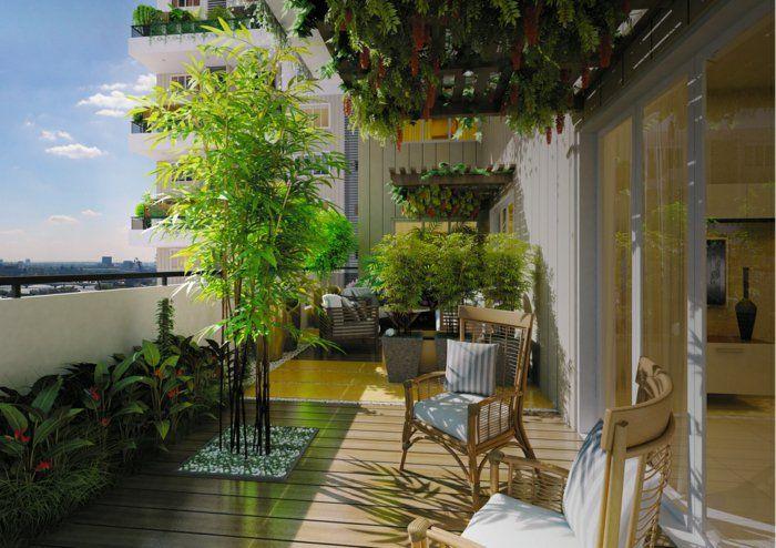 terrasse gestalten ideen pflanzen bambus stühle Balkonmöbel - ideen terrasse gestalten