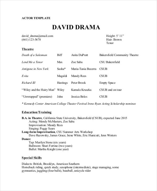 Theatre Director Resume Template , The General Format and Tips for - theatrical resume format