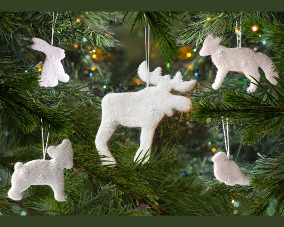 Woodland ornaments set Waldorf decorations Forest animal ornaments - moose christmas decorations