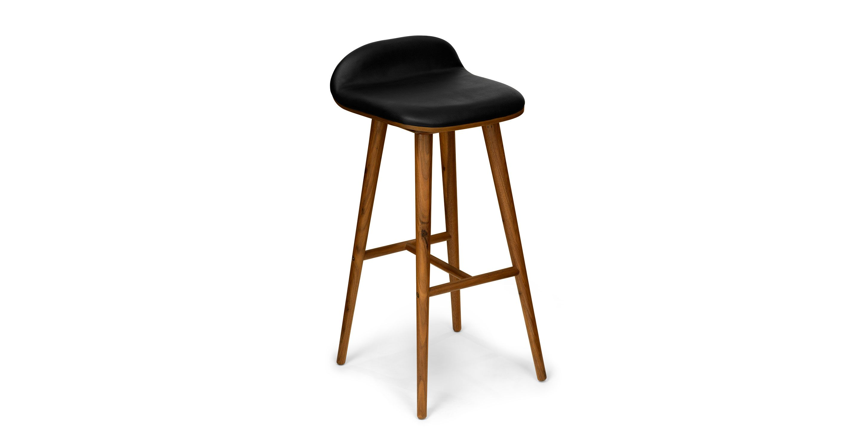 Modern Wood Bar Stool Black Leather Bar Stool With Back Walnut Wood Article