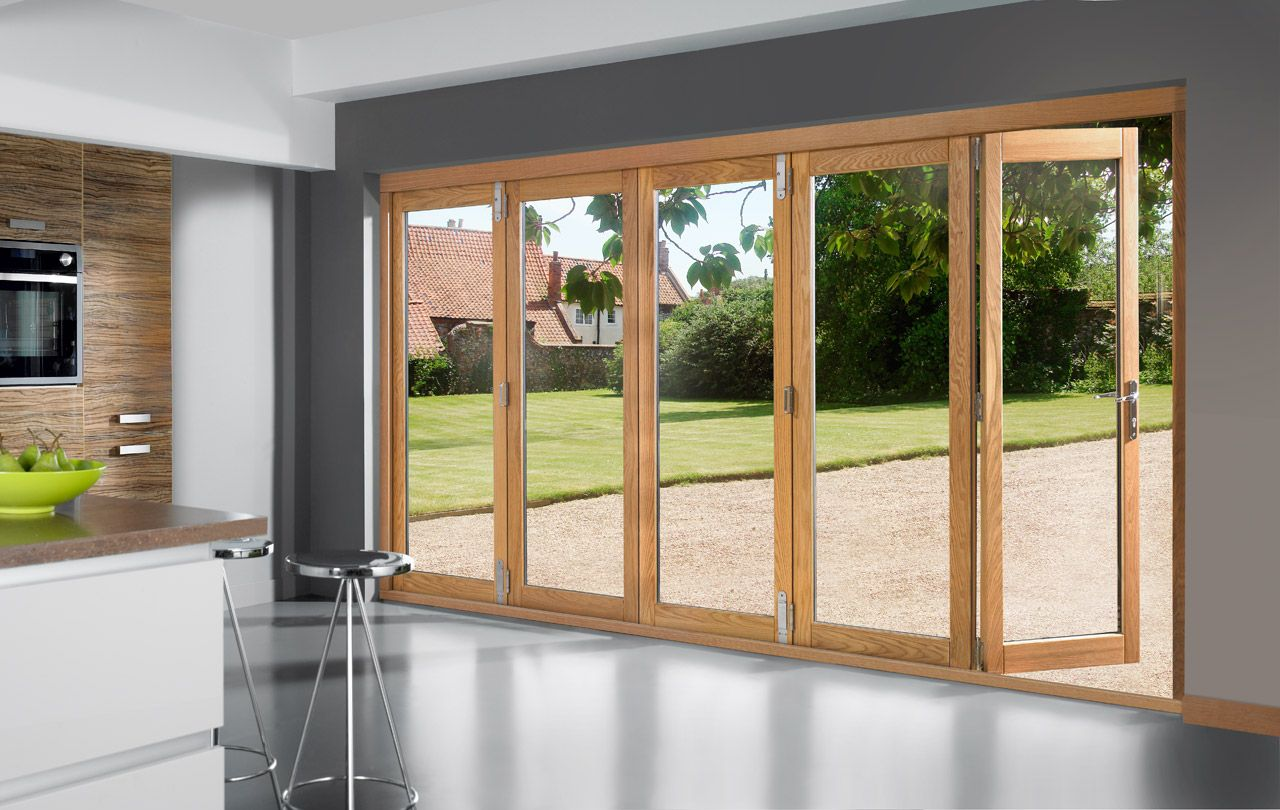 Bifold patio doors fold and open in its middle part they have been the most