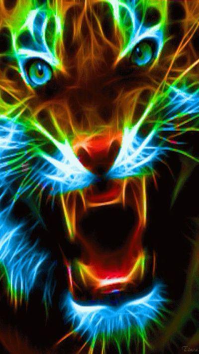 NEON BIG CAT IPHONE WALLPAPER BACKGROUND | IPHONE WALLPAPER / BACKGROUNDS | Pinterest ...