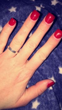 "Short | Square | Fake Nails | Acrylic Nails | Red | ""Big ..."