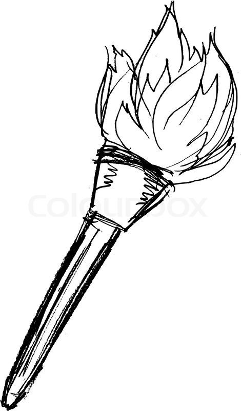 handdrawn diagram of the traditional torch