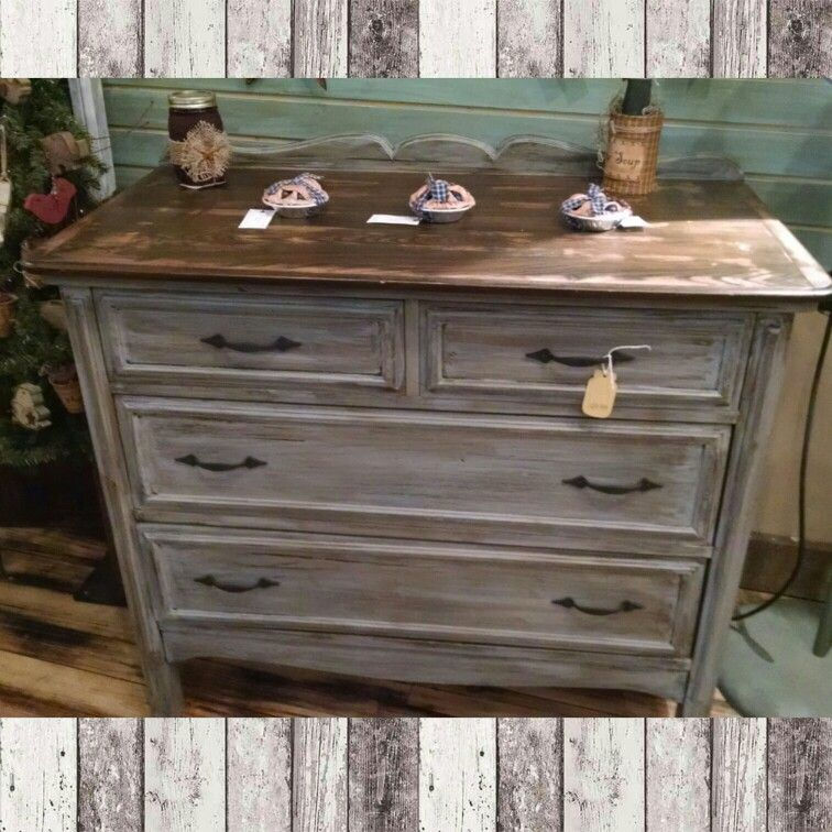 Dark Gray Dresser 4 Drawer Dresser. Distressed Grey With Dark Walnut Stained
