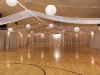 Ceiling and drapes reception decoration. If rain then the ...