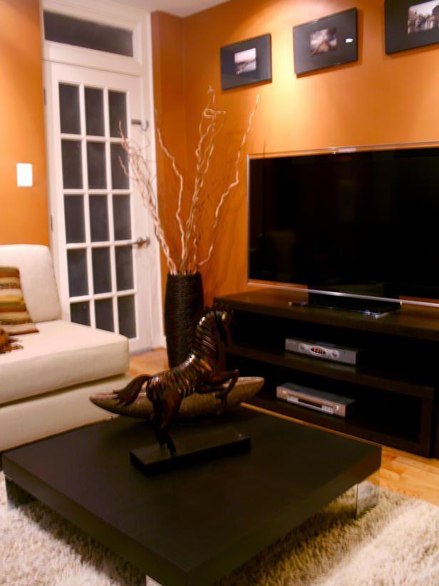 Alex Sanchezu0027s Design Portfolio Orange walls, Stone fireplaces - orange and brown living room