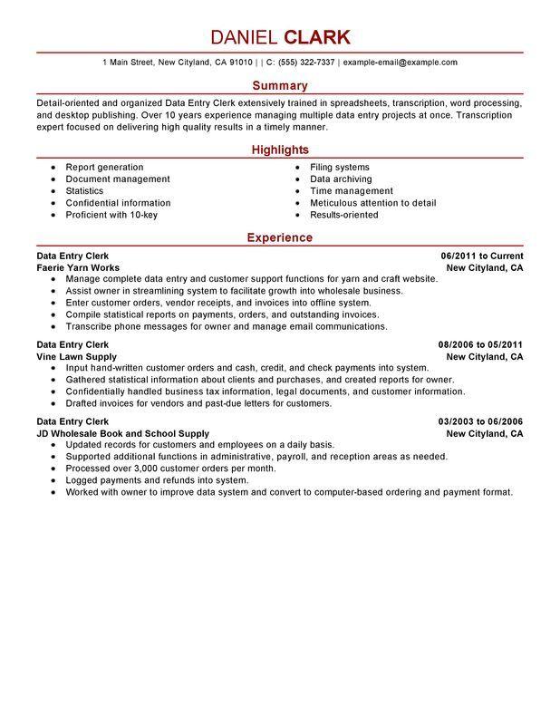 Data Entry Clerk Resume Sample Ideas for the House Pinterest - clerical resume examples