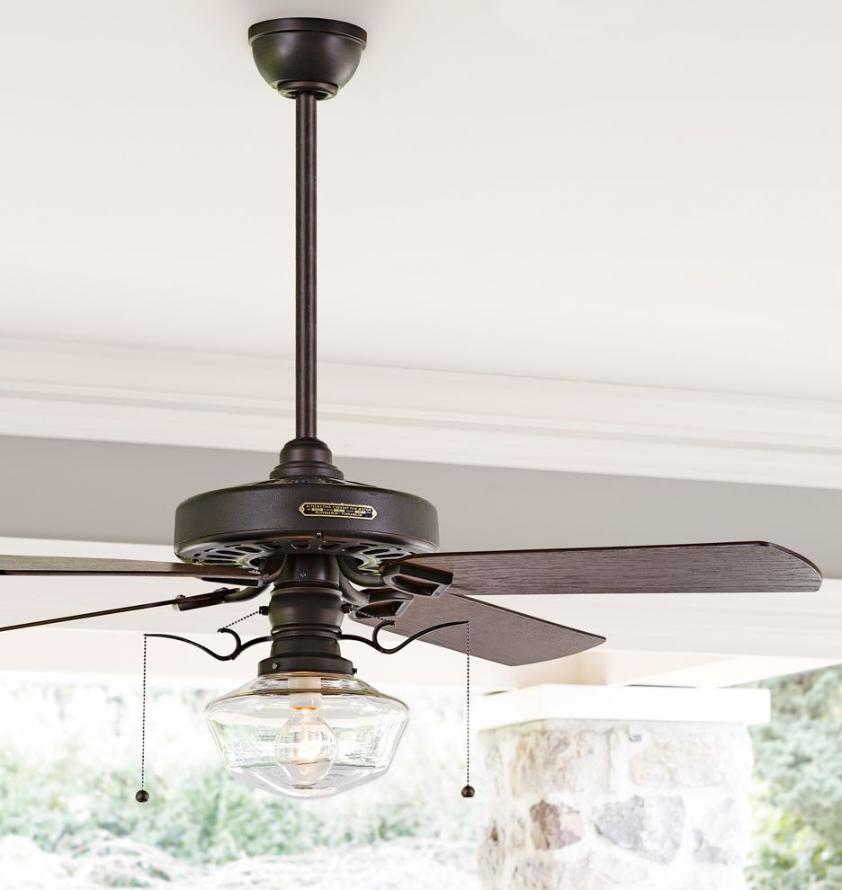 Heron Ceiling Fan with Clear Ogee Shade