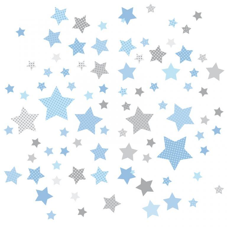 Dinki Balloon Kinderzimmer Wandsticker Sterne blau\/grau 68-teilig - wandsticker babyzimmer nice ideas