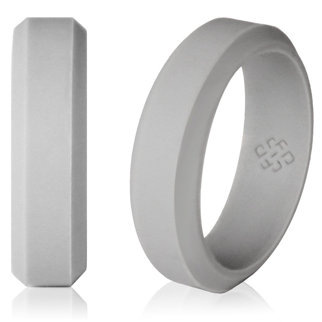 safety wedding rings Light Gray silicone wedding ring Modern beveled design cloud9 gray grey