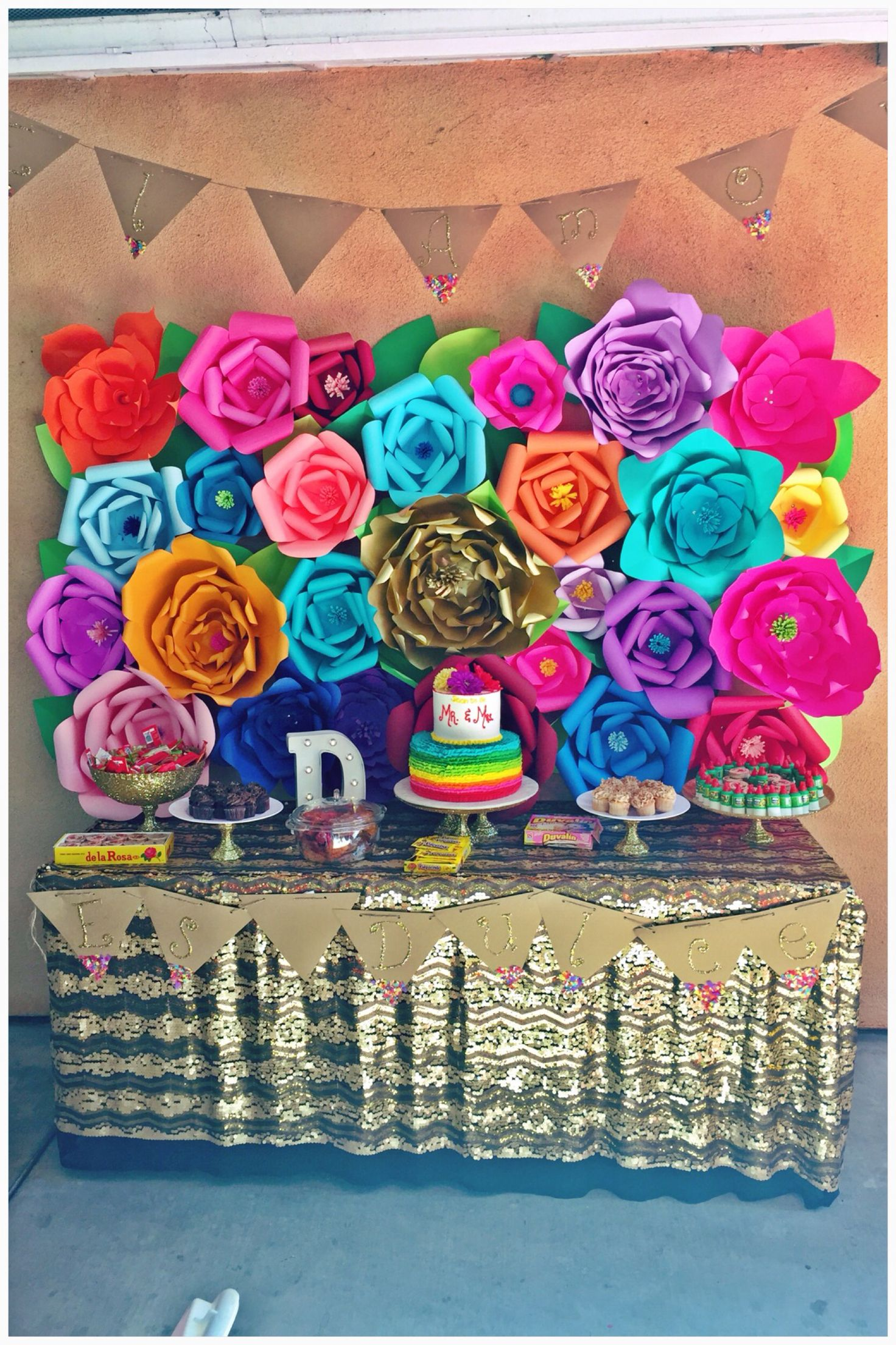 Diy Backdrop Stand For Dessert Table Quotel Amor Es Dulce Quot Mexican Fiesta Theme Wedding Shower