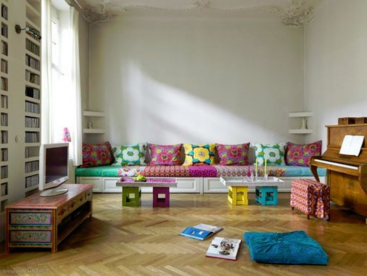 pretty pretty living room chevron wood floors, colourful funky - pretty living rooms