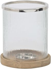 Libra's Ribbed Glass Hurricane Lamp with Wooden Base ...