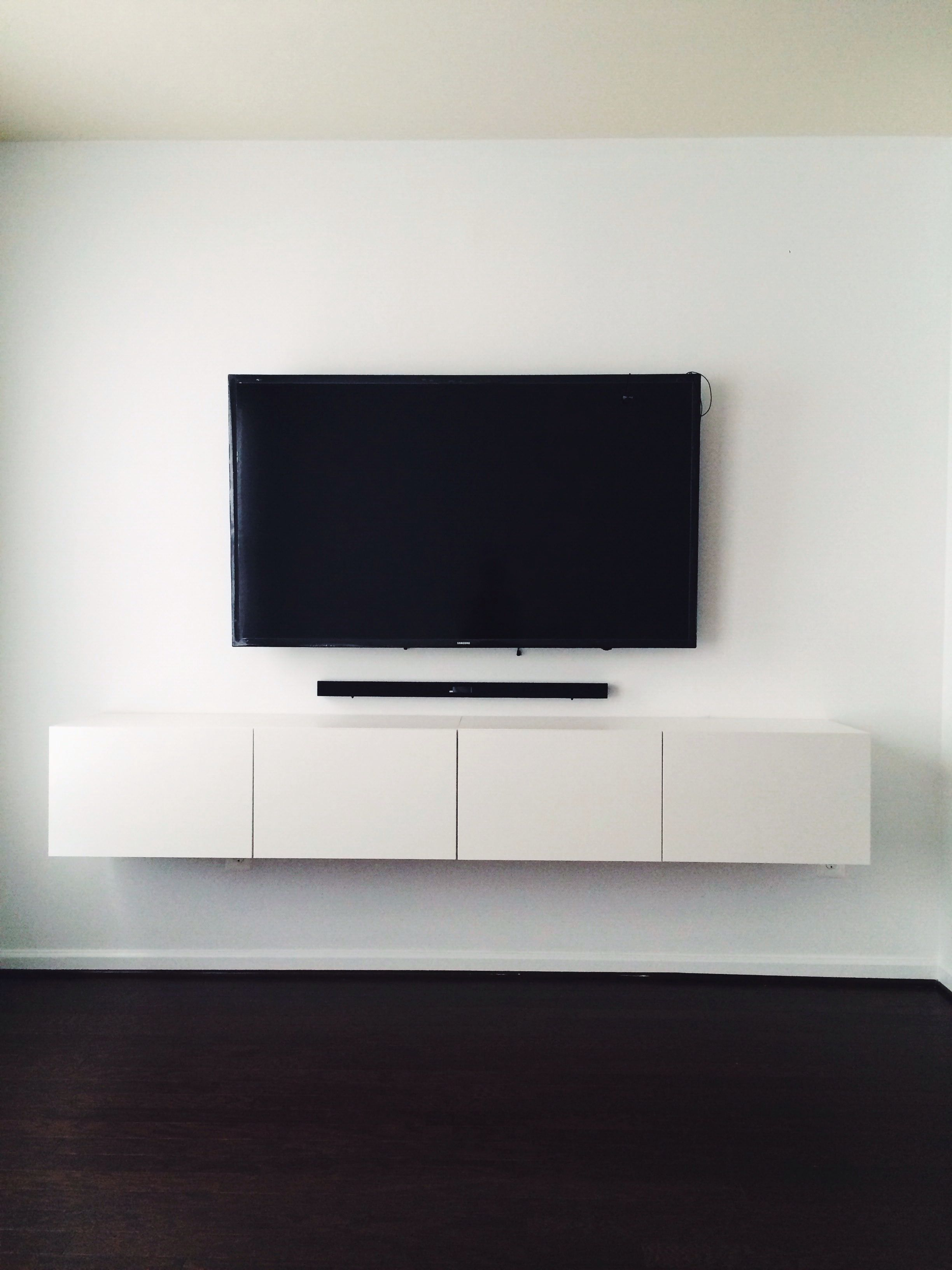 Ikea Besta Media Console Mounted Tv With Hidden Wires