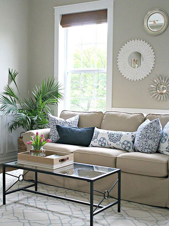 No-Money Decorating for Every Room Beige sofa, Thrifty decor - beige couch living room