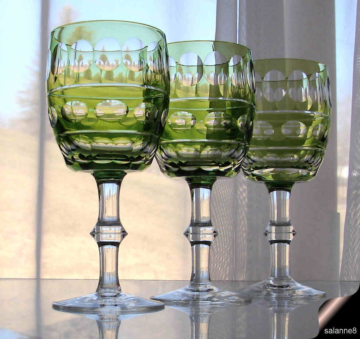 Cut Crystal Wine Glasses Colored 3 Vintage Val St Lambert Blarney Green Cut To Clear Water