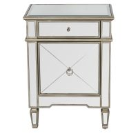 CLAUDETTE - Mirrored nightstand with painted silver edge ...