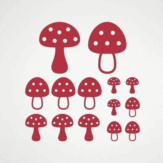 Mushroom Wall Decals Toadstool Woodland Baby Nursery Theme