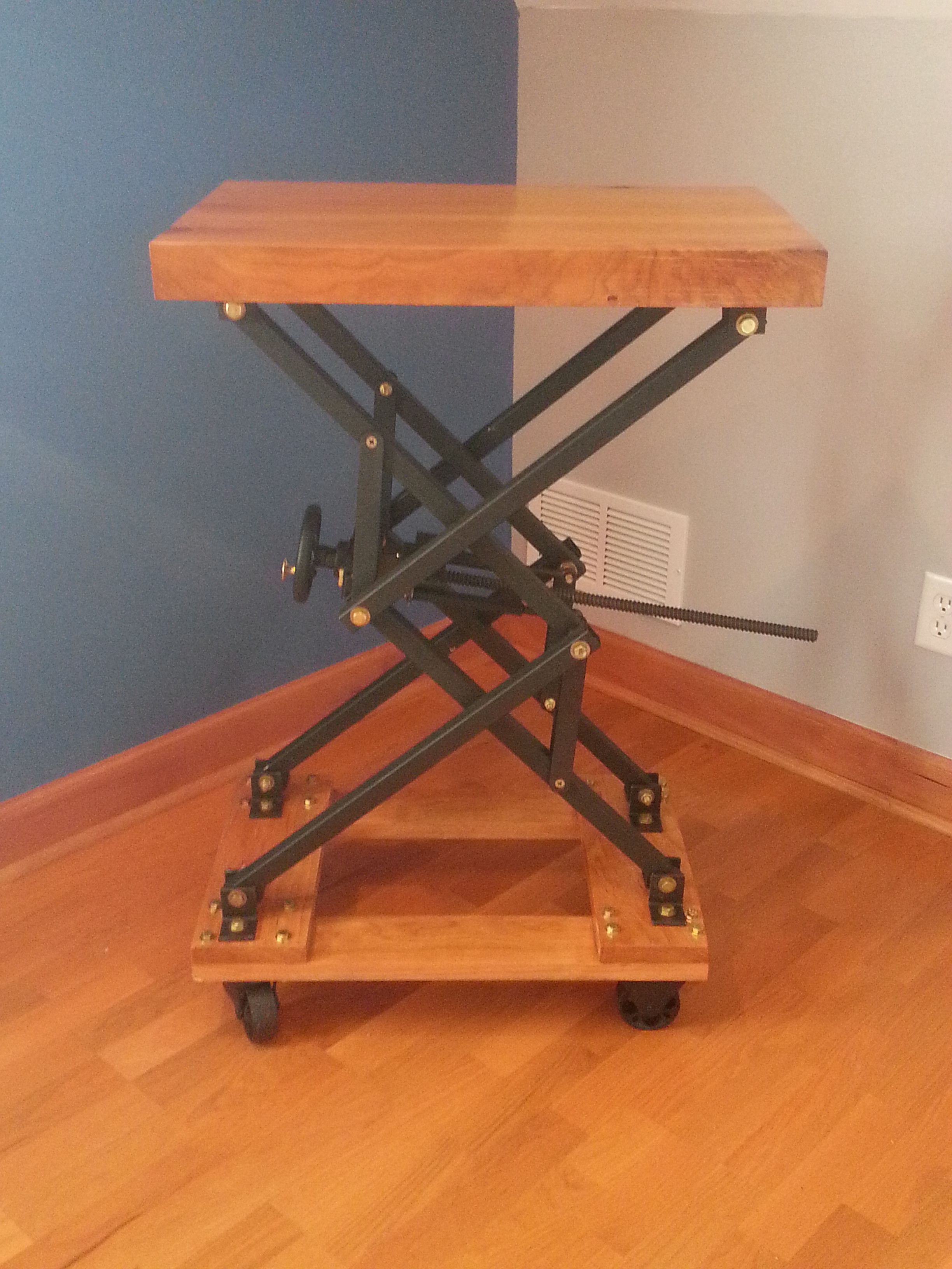 Industrial Look End Tables I Built An Industrial Style Scissor Lift End Table With A