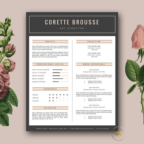 Creative Resume Template 3 page CV Template and FREE Cover - iwork resume templates