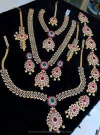 One Gram Gold Bridal AD Sets | Gold wedding jewellery sets ...
