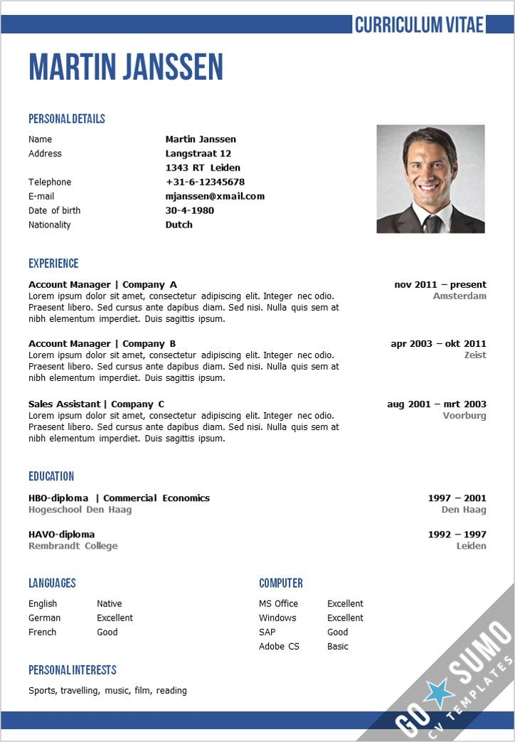 Business cv template in Word and PowerPoint + matching cover - business resume template word