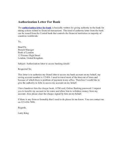 Example of authorization letters free authorization letter sample letter format for bank statement cover templates how make example of authorization letters spiritdancerdesigns Gallery
