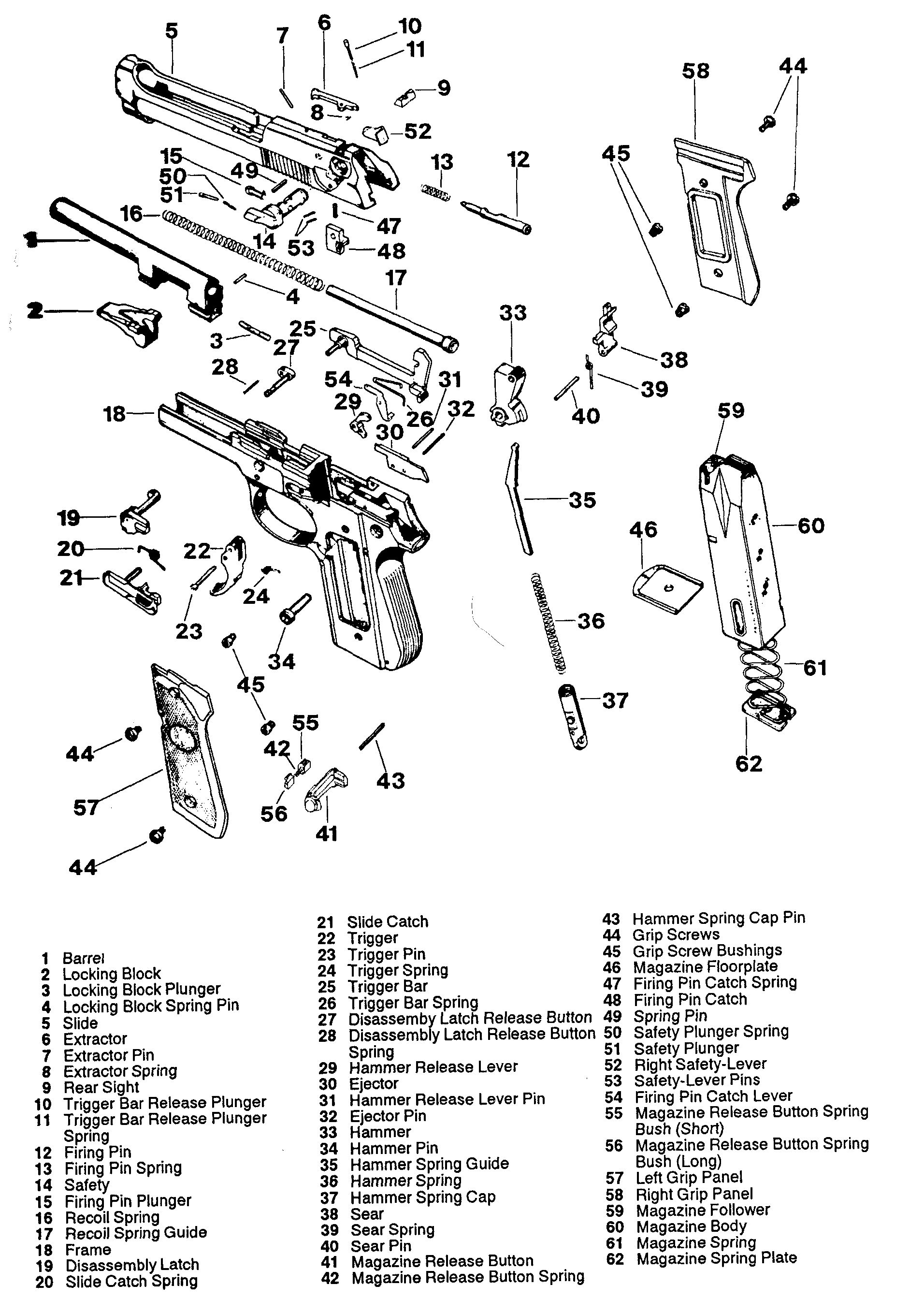 beretta 92fs exploded view toys pinterest