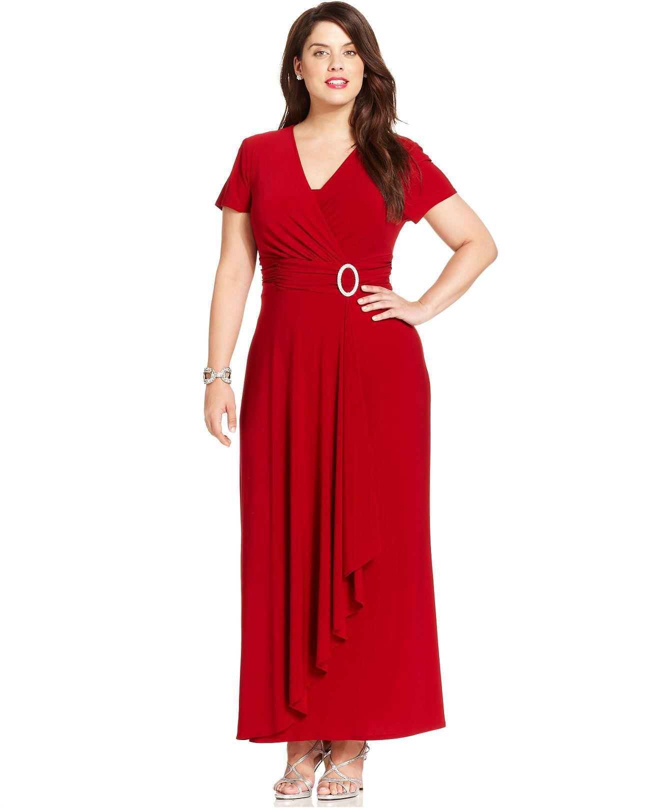 macys wedding guest dresses R M Richards Plus Size Dress Short Sleeve Faux Wrap Gown Plus Size