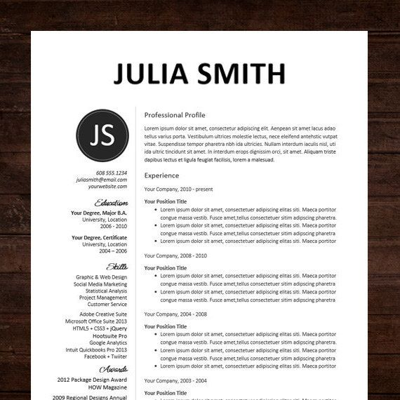 ☆ MS WORD RESUME TEMPLATE - INSTANT DOWNLOAD ☆ Need a resume - i need a resume template