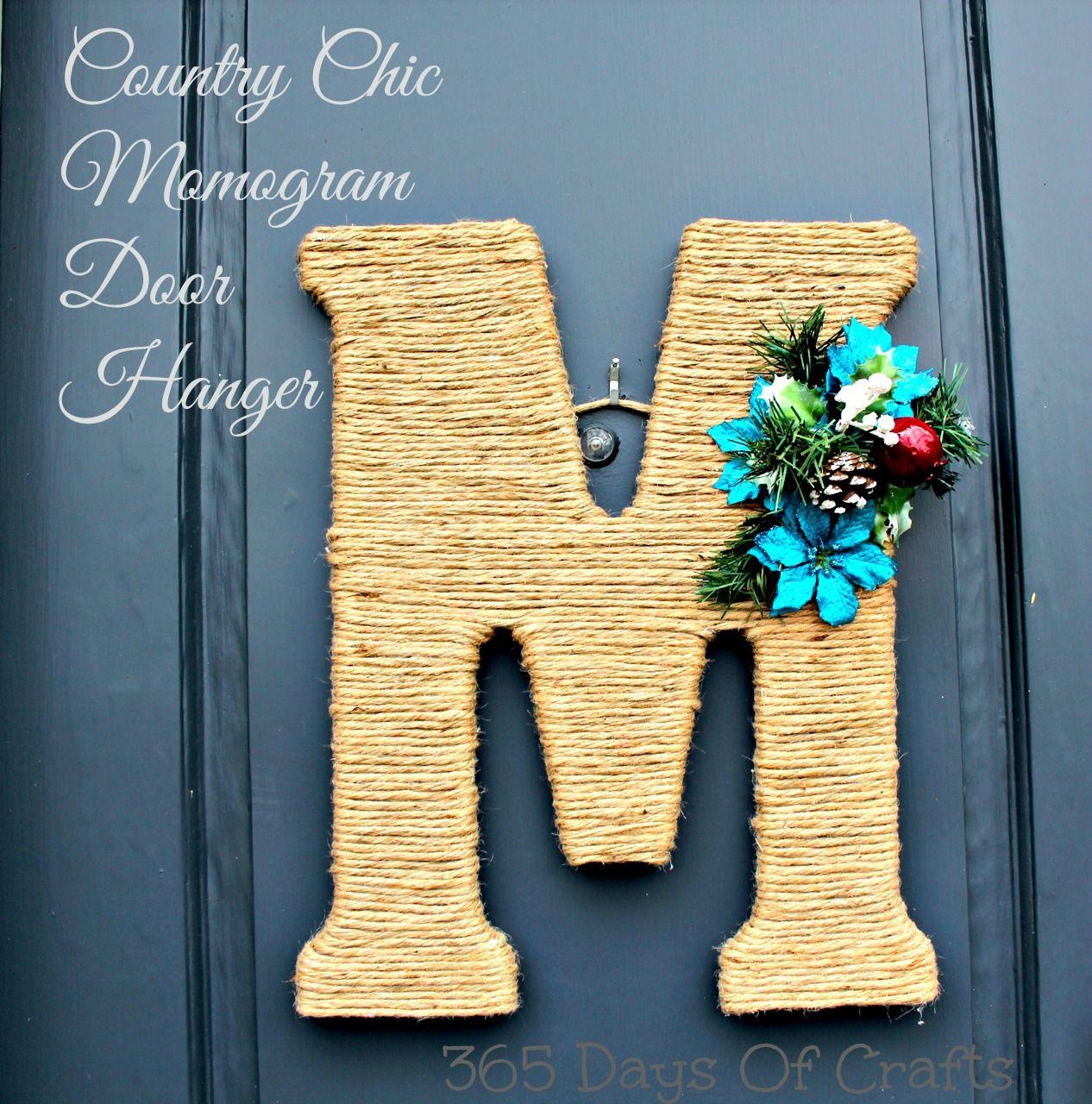 Country chic monogram wreath monogram door hanger twine or sisal wrapped around a wreath