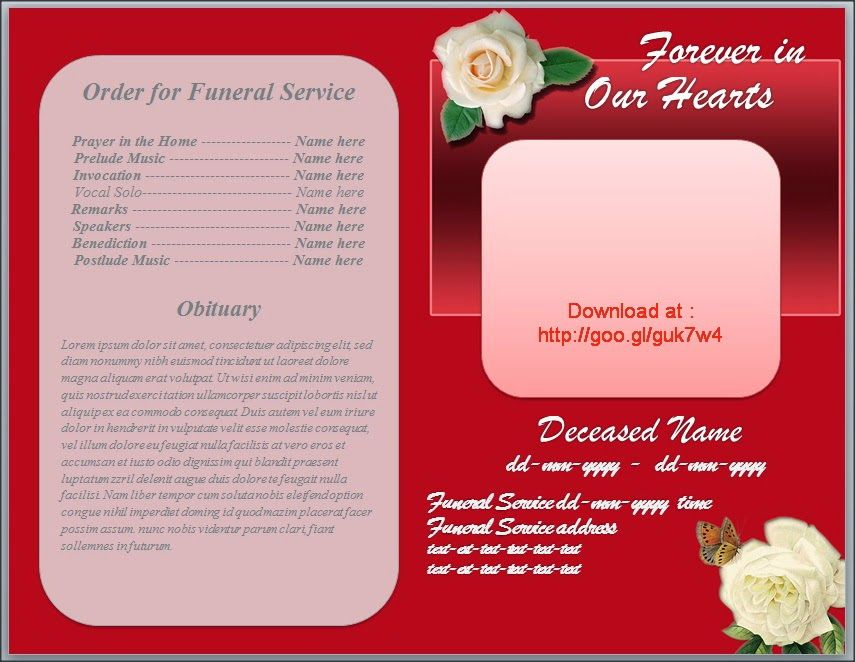 Free Funeral Program Obituary Template White Rose Red Background - free download funeral program template