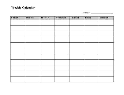 Free Printable Weekly Calendar Template Weekly calendar template - free weekly calendar