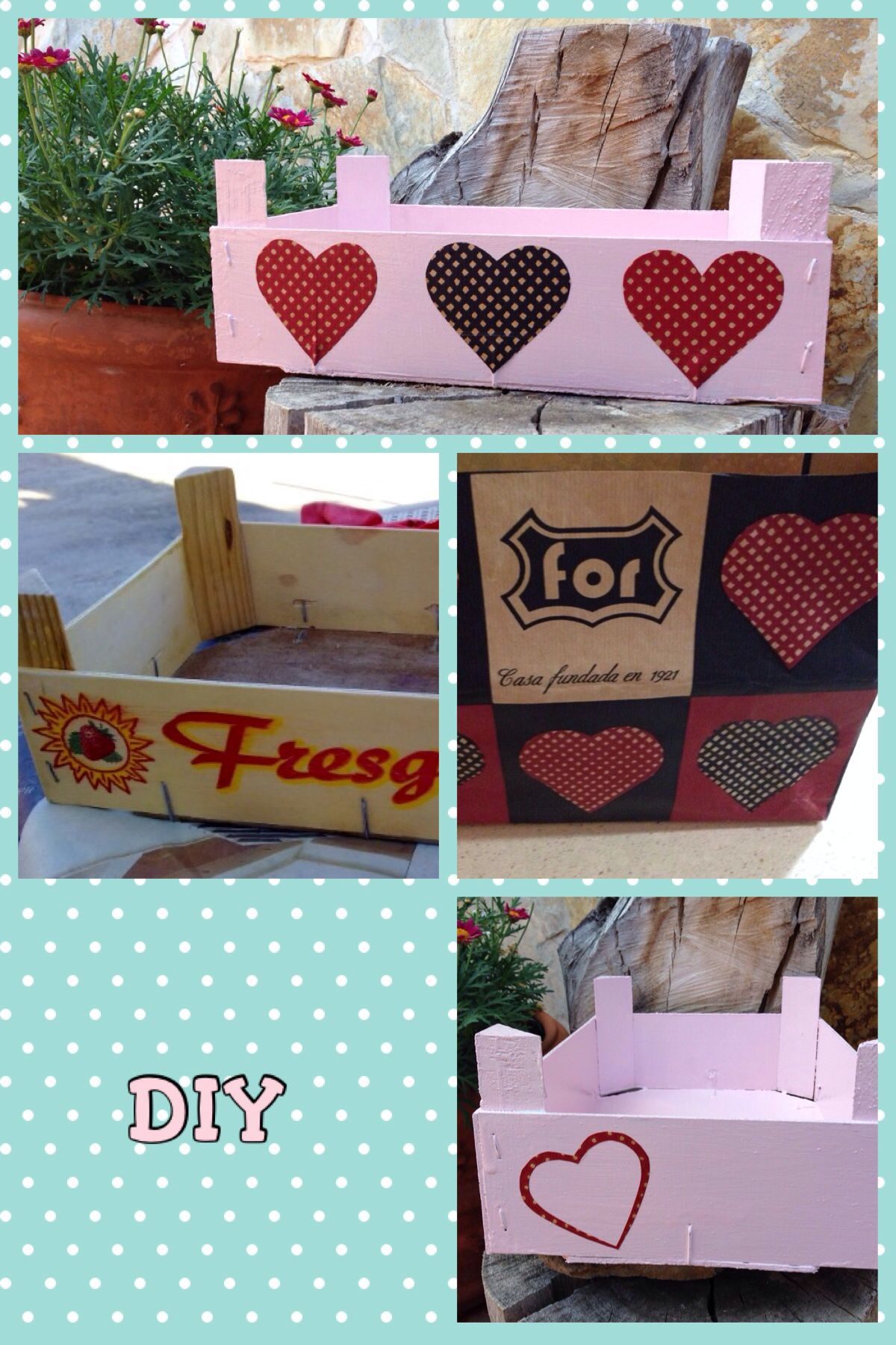 Cajas De Madera Decoradas Manualidades Caja Fresas De Madera Decorada Diy For You Pinterest
