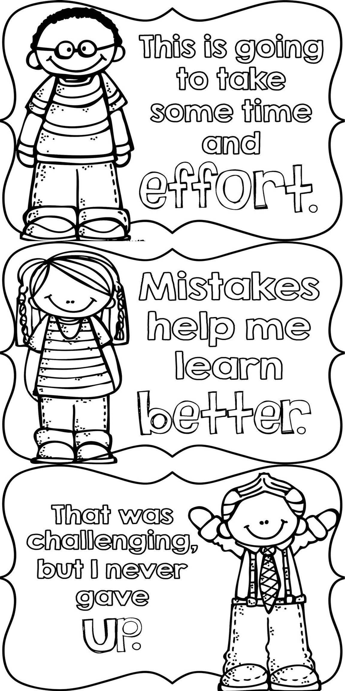 Spring coloring pages for elementary students growth mindset posters