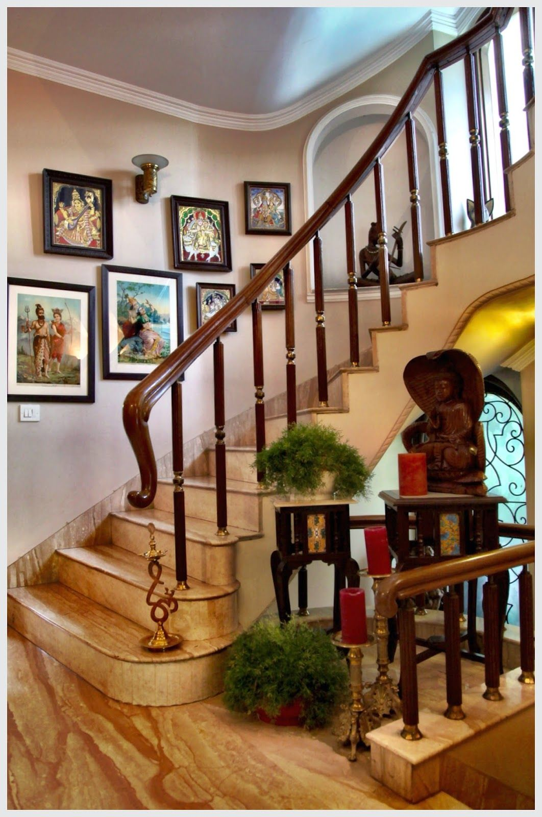 Indian Home Decoration Lining The Walls Of The Stairway Are Ravi Varma