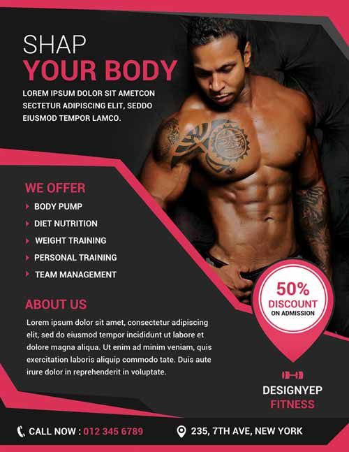Free Fitness and Gym Flyer PSD Template - http\/\/freepsdflyer - fitness flyer