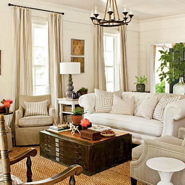 Southern Living farmhouse living room - love this room white sofa - southern living living rooms