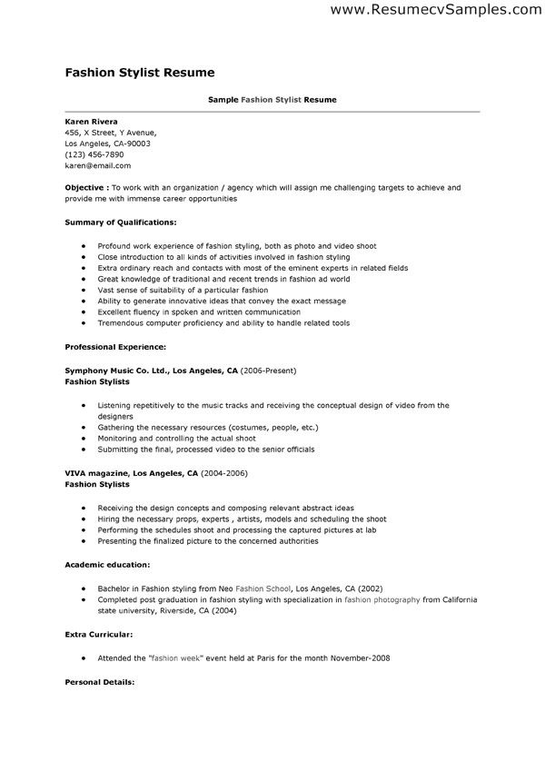 fashion stylist resume This resume example is for job search in - hair stylist resume example